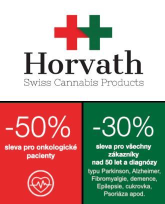 Slevy na CBD a logo společnosti Horvath Swiss Cannabis Products